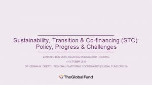 Sustainability Transition Cofinancing STC Policy Progress Challenges EANNASO