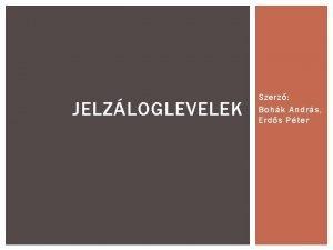 JELZLOGLEVELEK Szerz Bohk Andrs Erds Pter A JELZLOGLEVL