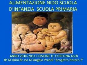 ALIMENTAZIONE NIDO SCUOLA DINFANZIA SCUOLA PRIMARIA ANNO 2010