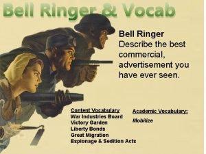 Bell Ringer Vocab Bell Ringer Describe the best