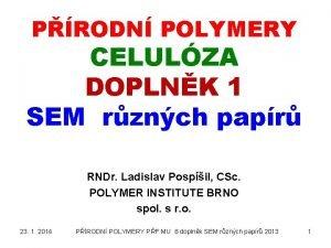PRODN POLYMERY CELULZA DOPLNK 1 SEM rznch papr