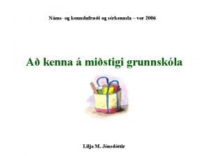 Nms og kennslufri og srkennsla vor 2006 A