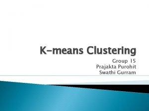 Kmeans Clustering Group 15 Prajakta Purohit Swathi Gurram