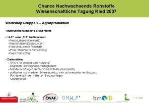 Chance Nachwachsende Rohstoffe Wissenschaftliche Tagung Ried 2007 Workshop