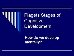 Piagets Stages of Cognitive Development How do we