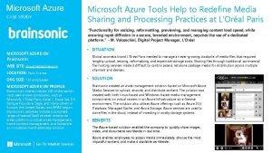 Microsoft Azure CASE STUDY Microsoft Azure Tools Help