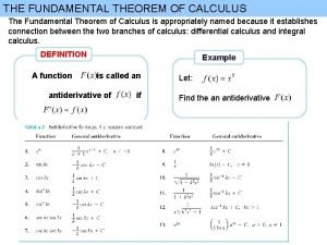 THE FUNDAMENTAL THEOREM OF CALCULUS The Fundamental Theorem
