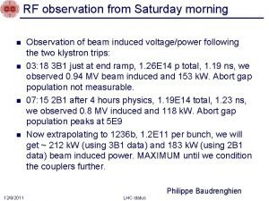 RF observation from Saturday morning n n Observation