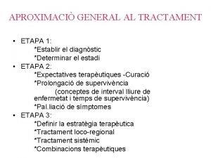 APROXIMACI GENERAL AL TRACTAMENT ETAPA 1 Establir el