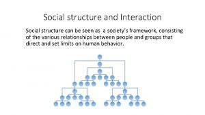 Social structure and Interaction Social structure can be