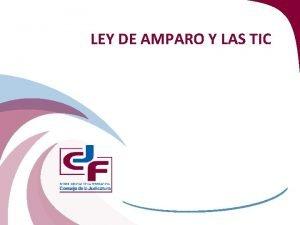 LEY DE AMPARO Y LAS TIC ALCANCES INFORMTICOS