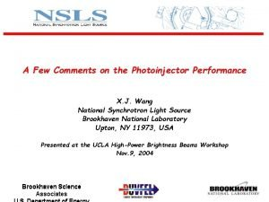A Few Comments on the Photoinjector Performance X