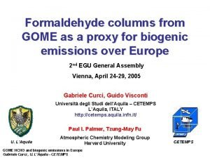 Formaldehyde columns from GOME as a proxy for