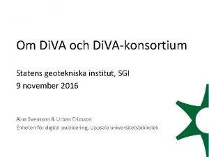 Om Di VA och Di VAkonsortium Statens geotekniska