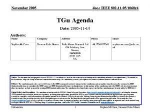 November 2005 doc IEEE 802 11 051060 r