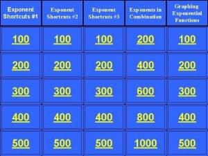 Exponent Shortcuts 1 Exponent Shortcuts 2 Exponent Shortcuts