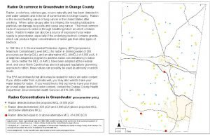 Radon Occurrence in Groundwater in Orange County Radon