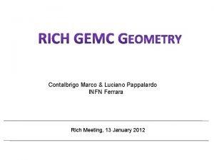 Contalbrigo Marco Luciano Pappalardo INFN Ferrara Rich Meeting