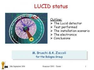 LUCID status Outline The Lucid detector Test performed