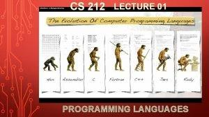 CS 212 LECTURE 01 PROGRAMMING LANGUAGES CS 212