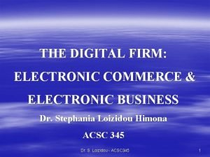THE DIGITAL FIRM ELECTRONIC COMMERCE ELECTRONIC BUSINESS Dr