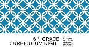 6 TH GRADE CURRICULUM NIGHT Mrs Anglin Mrs
