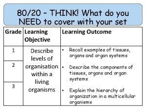8020 THINK What do you NEED to cover