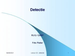 Detectie RUG GARP Frits Pleiter 06032021 cursus CD