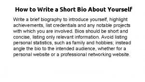 How to Write a Short Bio About Yourself