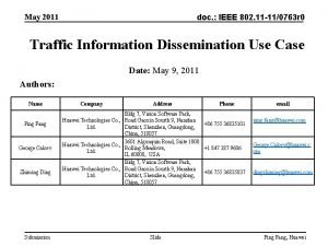 May 2011 doc IEEE 802 11 110763 r