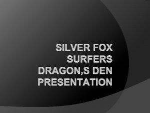 SILVER FOX SURFERS DRAGONS DEN PRESENTATION Introduction Silver