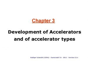 Chapter 3 Development of Accelerators and of accelerator