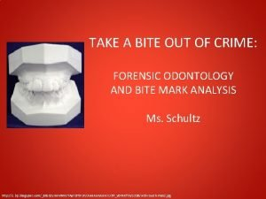 TAKE A BITE OUT OF CRIME FORENSIC ODONTOLOGY