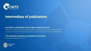 Intermediacy of publications Lovro ubelj 1 Ludo Waltman