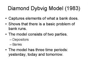 Diamond Dybvig Model 1983 Captures elements of what