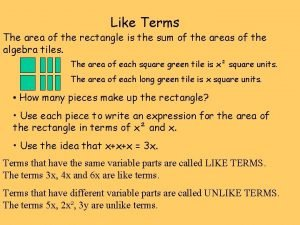 Like Terms The area of the rectangle is