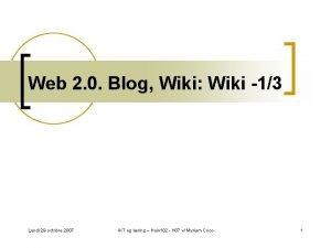 Web 2 0 Blog Wiki Wiki 13 Lundi