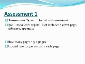 Assessment 1 Assessment Type individual assessment 1500 2000