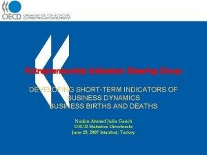 Entrepreneurship Indicators Steering Group DEVELOPING SHORTTERM INDICATORS OF