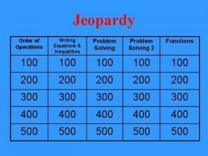 Jeopardy Order of Operations Writing Equations Inequalities Problem