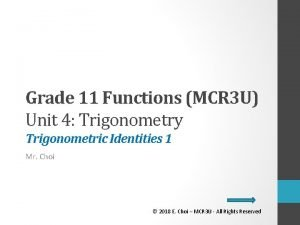 Grade 11 Functions MCR 3 U Unit 4