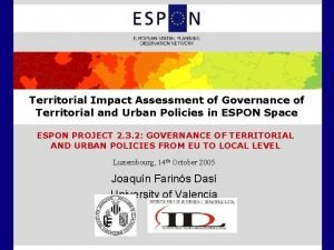 Territorial Impact Assessment of Governance of Territorial and
