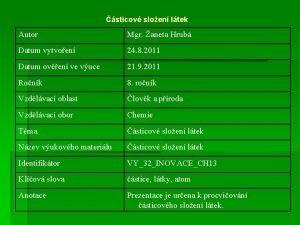 sticov sloen ltek Autor Mgr aneta Hrub Datum