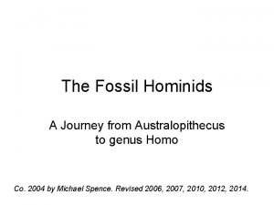 The Fossil Hominids A Journey from Australopithecus to