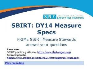 SBIRT DY 14 Measure Specs PRIME SBIRT Measure