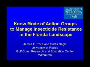 Know Mode of Action Groups to Manage Insecticide