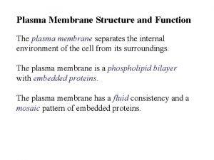 Plasma Membrane Structure and Function The plasma membrane