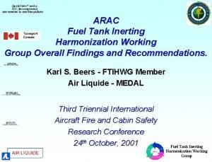 ARAC Fuel Tank Inerting Harmonization Working Group Overall