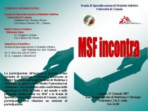 COMITATO ORGANIZZATIVO Scuola di Specializzazione di Malattie Infettive