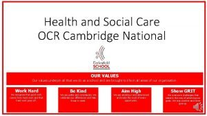 Health and Social Care OCR Cambridge National OUR